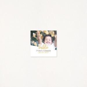 "Tarjeta Detalle comunión - ""HAPPY"" Niño"