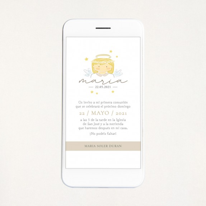 """Invitación digital comunión - """"ANGELITO NIÑA"""""""