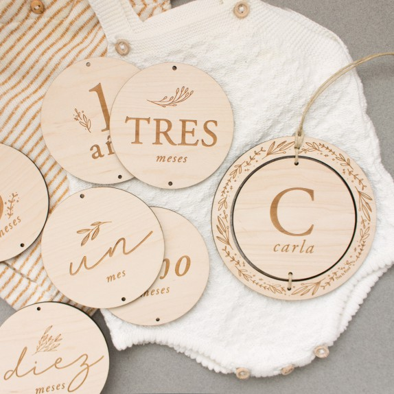 """Placas cumplemeses madera - """"AIRE"""""""