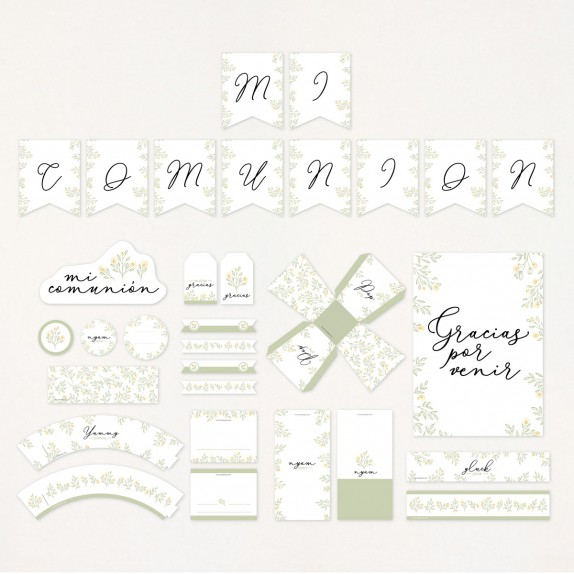 """Imprimible KIT fiesta comunion - """"NATURAL"""" 