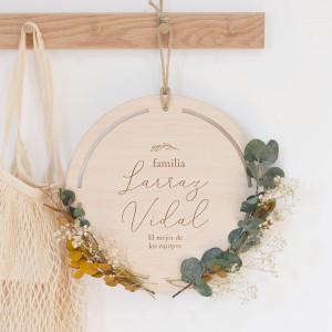 "Corona floral madera familia - ""BLISS"""