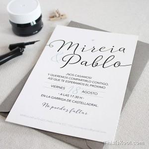 """Invitación boda - """"CALIGRÁFICA"""""""