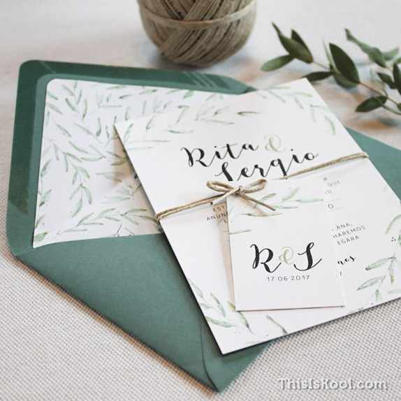"Invitación boda - ""GREEN"""