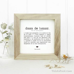 """Làmina amb marc – """"DAMA D'HONOR"""""""