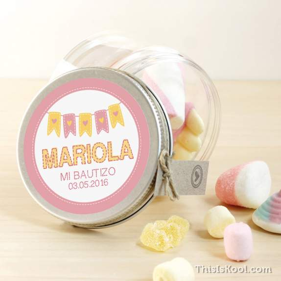 "Tarro de chuches bautizo - ""BANDERINES GIRL"" 
