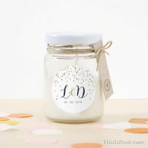 """Espelma vidre casament - """"CONFETTI"""""""