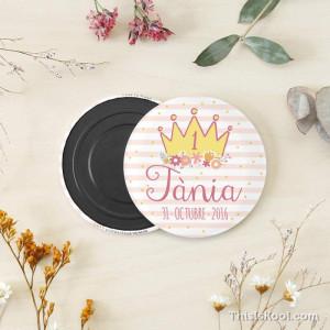 """Imán cumpleaños - """"CORONA"""" Rosa"""