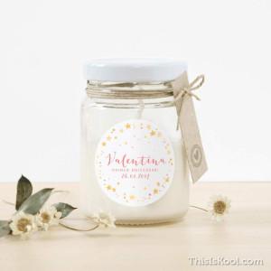 """Espelma vidre aniversari - """"CONSTEL·LACIONS"""" Rosa"""