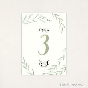 "Número mesa boda - ""GREEN"" | This Is Kool"