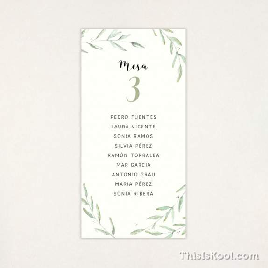 """Lista mesa boda - """"GREEN"""""""