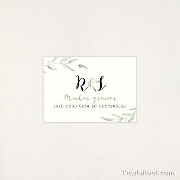 "Tarjeta Lista boda - ""GREEN"" 