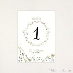 "Número mesa boda - ""NATURA"" | This Is Kool"
