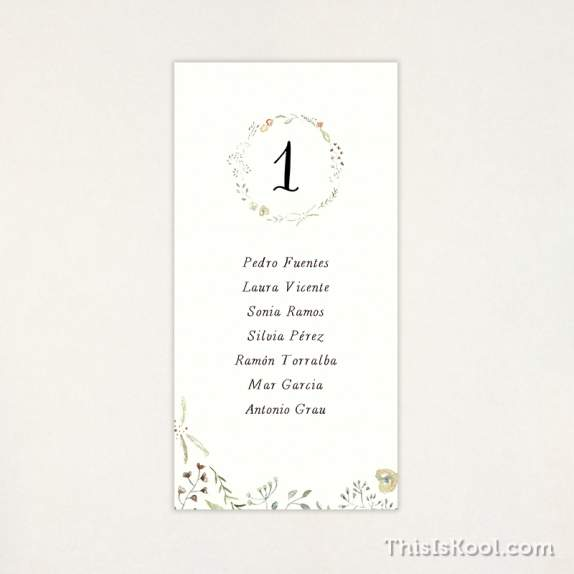 "Lista mesa boda - ""NATURA"" 