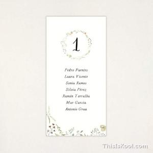 """Llista taula casament - """"NATURA"""""""