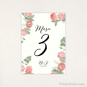 "Número mesa boda - ""PEONIAS"" | This Is Kool"