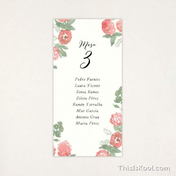 "Lista mesa boda - ""PEONIAS"" 