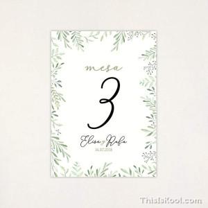 "Número mesa boda - ""CORONA OLIVO"""