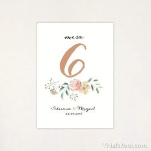 """Número mesa boda - """"FLORAL"""""""