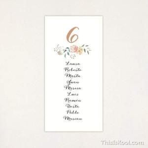 """Lista mesa boda - """"FLORAL"""""""