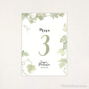 """Número mesa boda - """"VIÑEDO"""""""