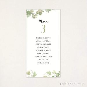 """Llista taula casament - """"VINYA"""""""