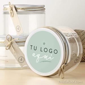 "Tarro transparente boda - ""TU LOGO AQUÍ"""