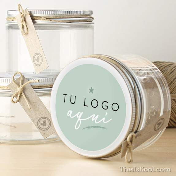 "Tarro transparente boda - ""TU LOGO AQUÍ"" 