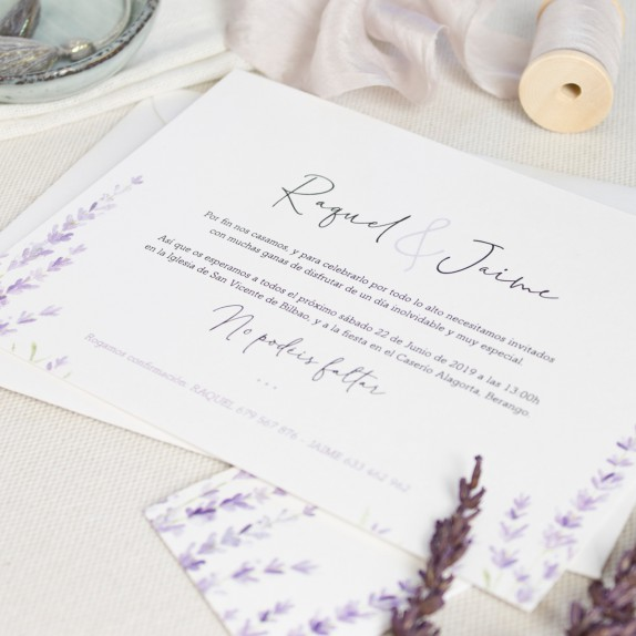 "Invitación boda - ""LAVANDA"" 