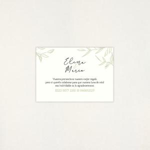 """Targeta Llista casament - """"CALMA"""""""