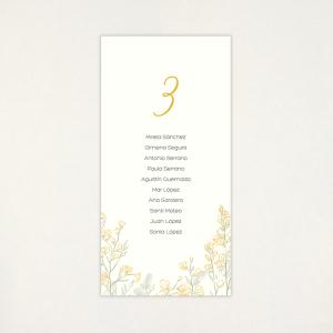 """Llista taula casament - """"GINESTA"""""""