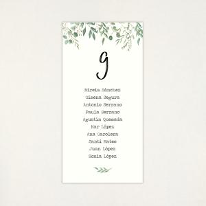 """Llista taula casament - """"BOTÀNICA VERDA"""""""
