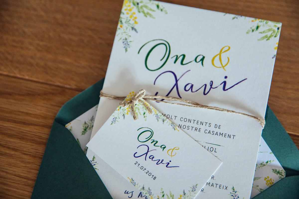 Invitación boda con flores de campo