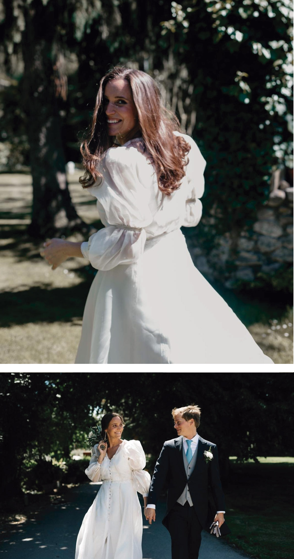 vestido novia con manga abollonada
