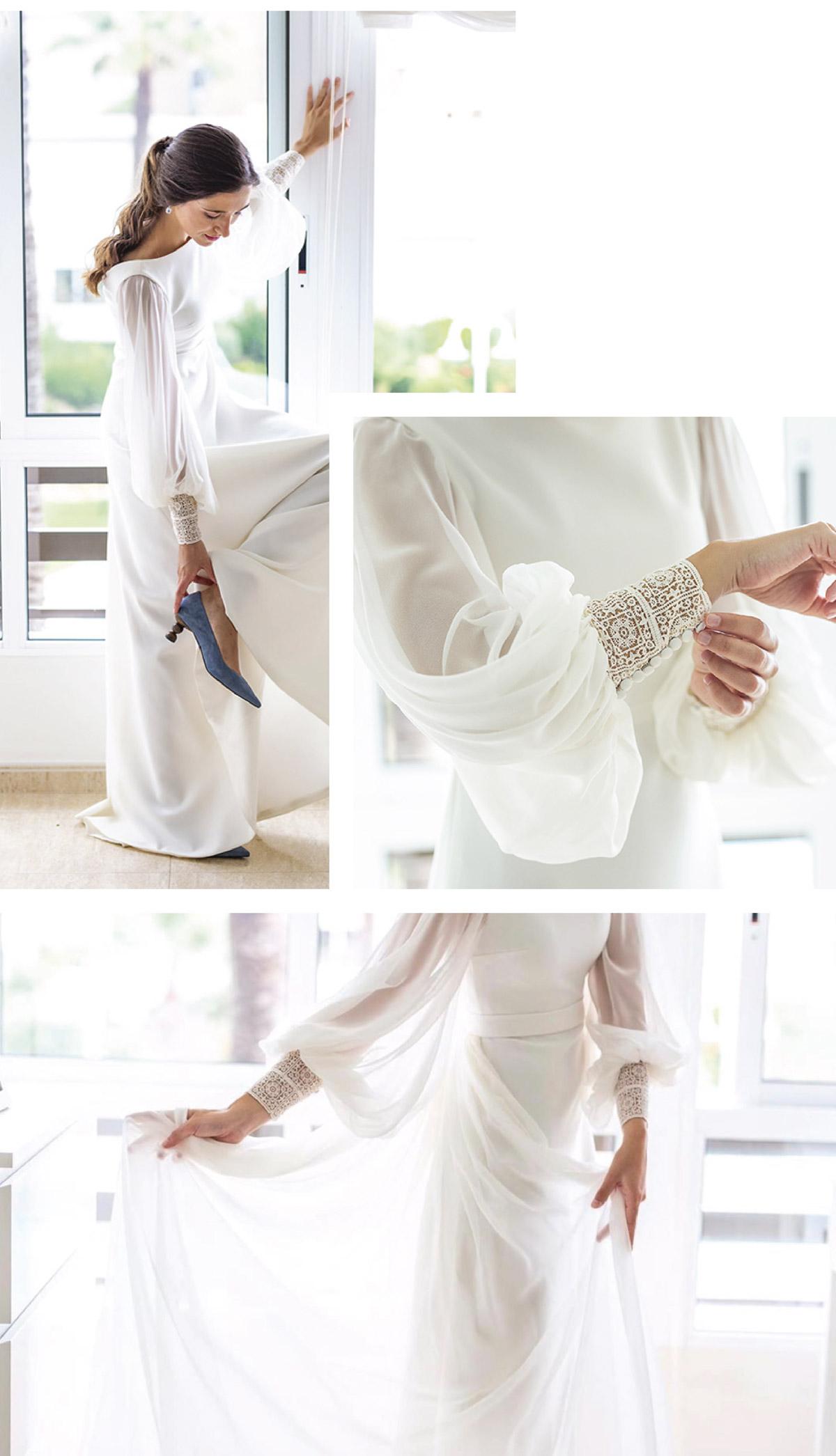 vestido novia con puños y mangas