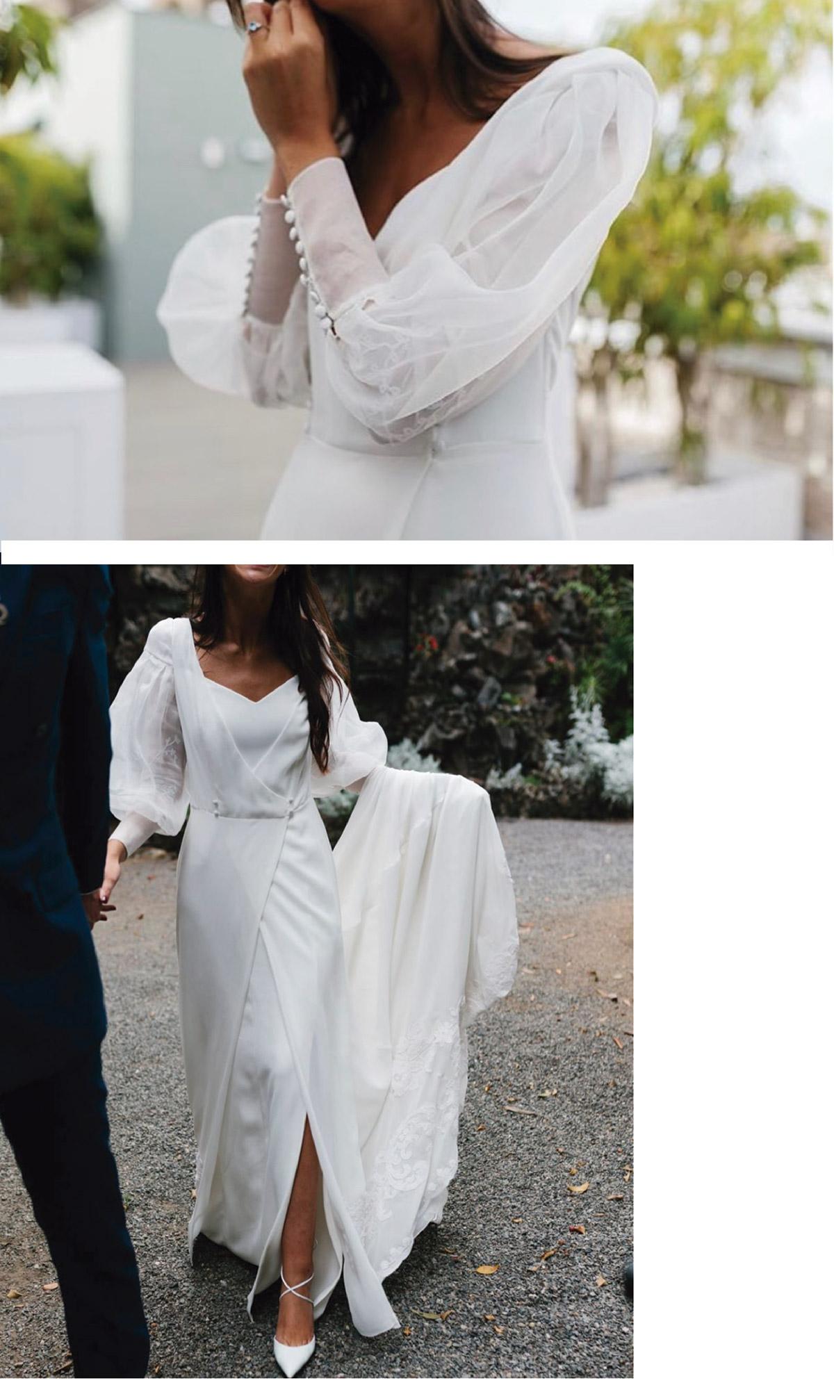 vestido novia con chaqueta