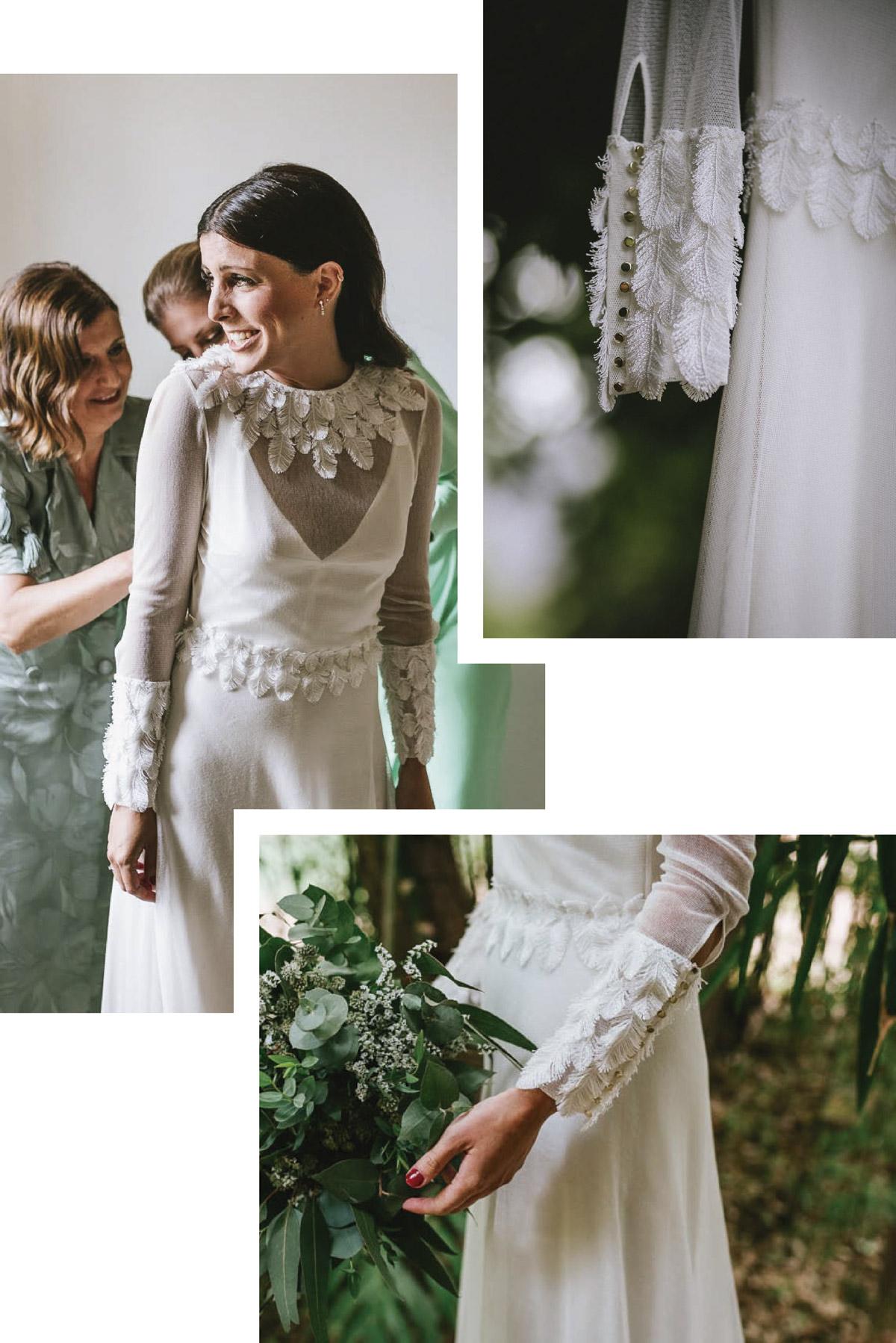 vestido novia con mangas diferentes