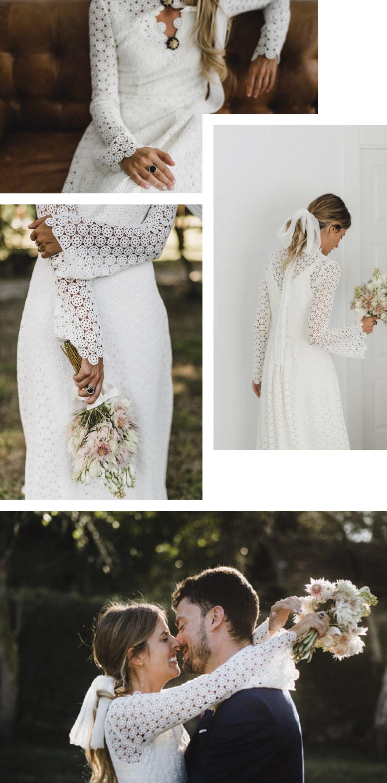 vestido novia mangas de guipur