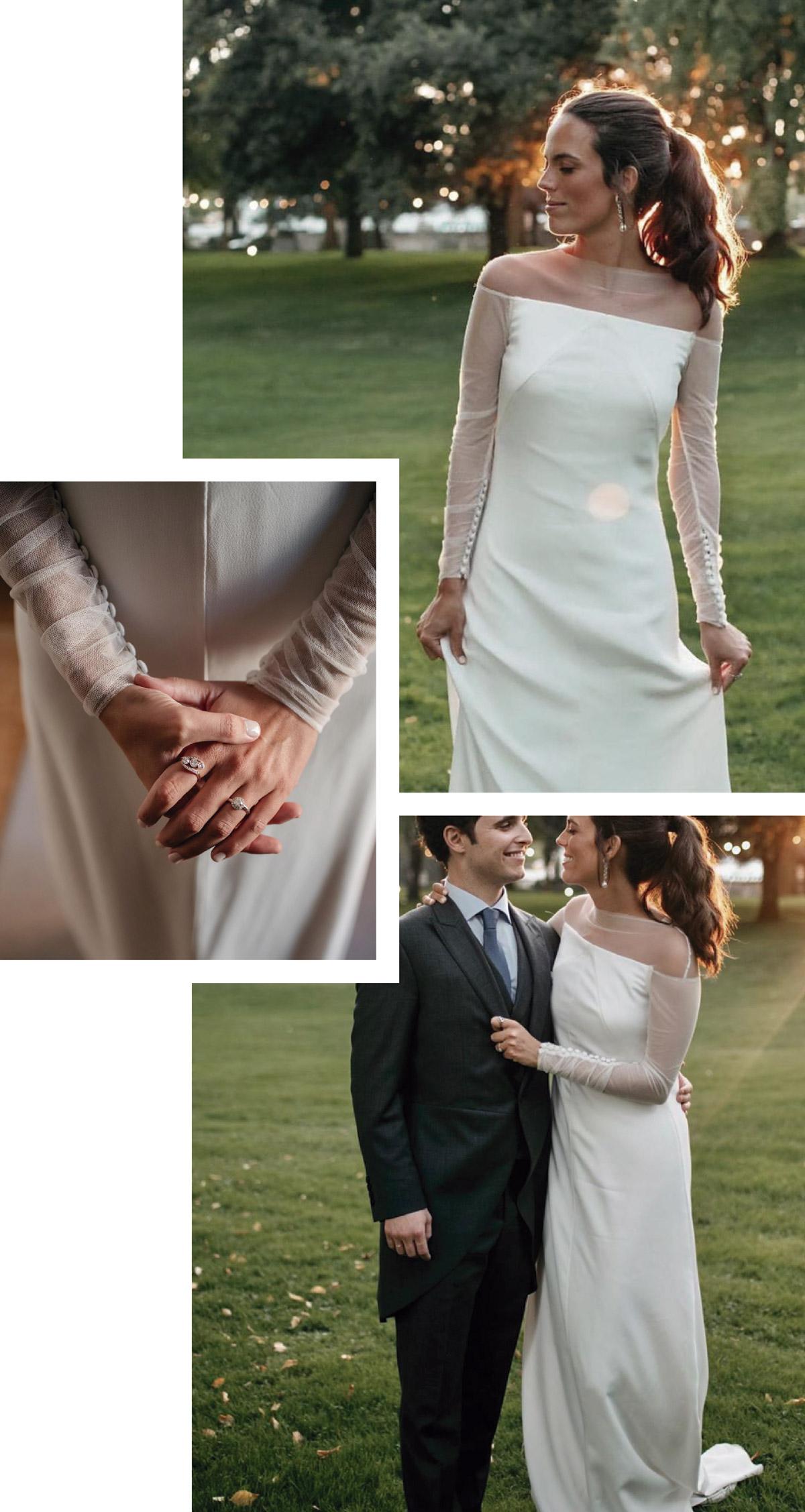 vestido novia con mangas tul