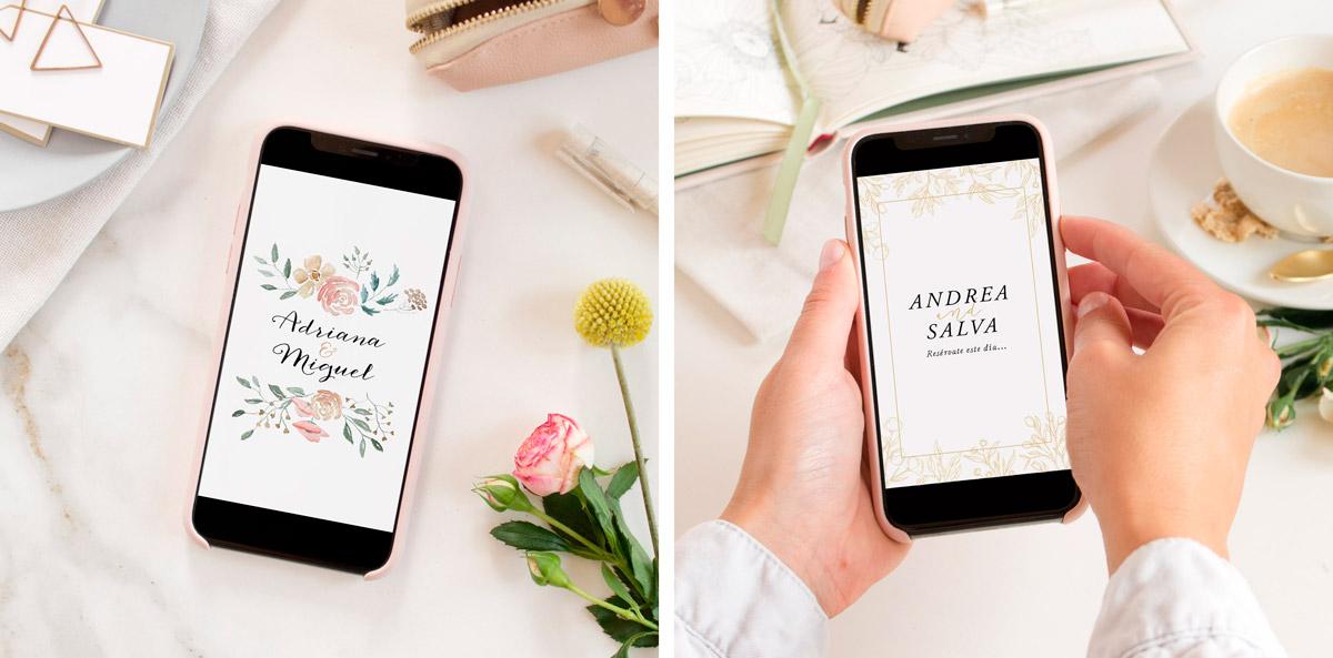 Invitación digital tipo vídeo para anunciar la boda