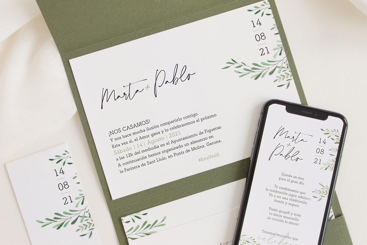 Invitación de boda con archivo digital