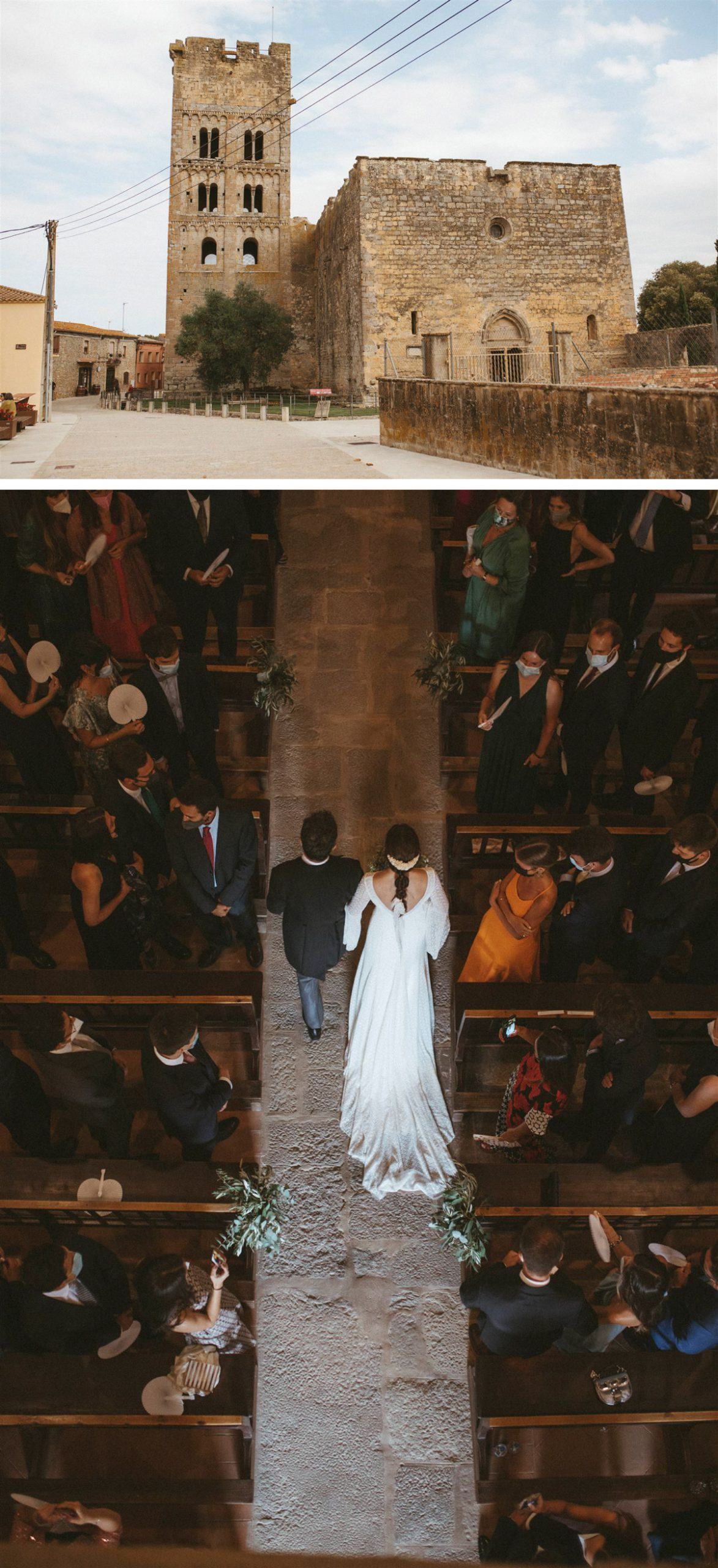 Boda Claudia i Nacho. Entrada novia a la iglesia Sant Miquel de Fluvià