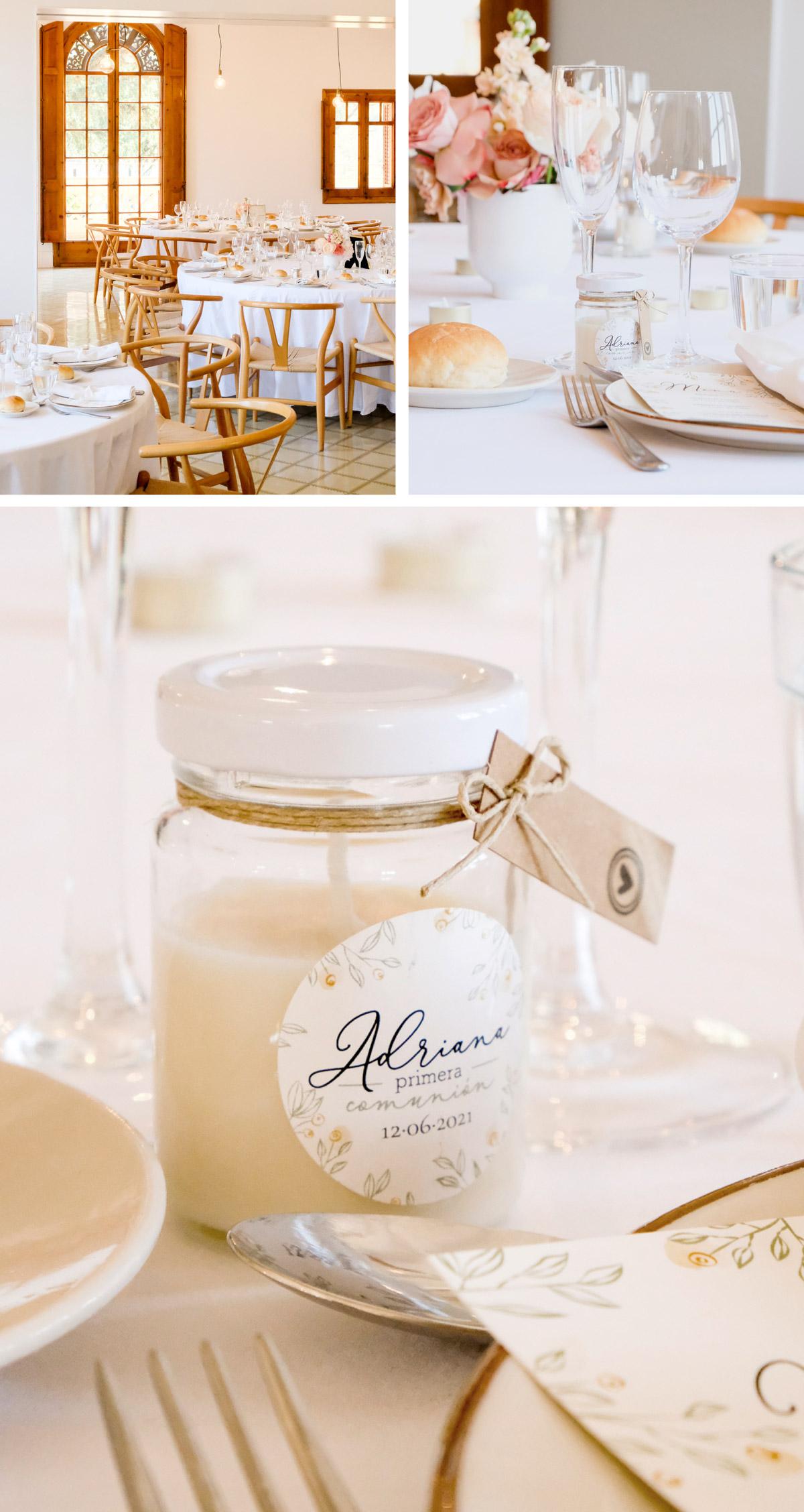 Ejemplo de mesa para comida de primera comunión. Detalle recordatorio vela de cristal comunión