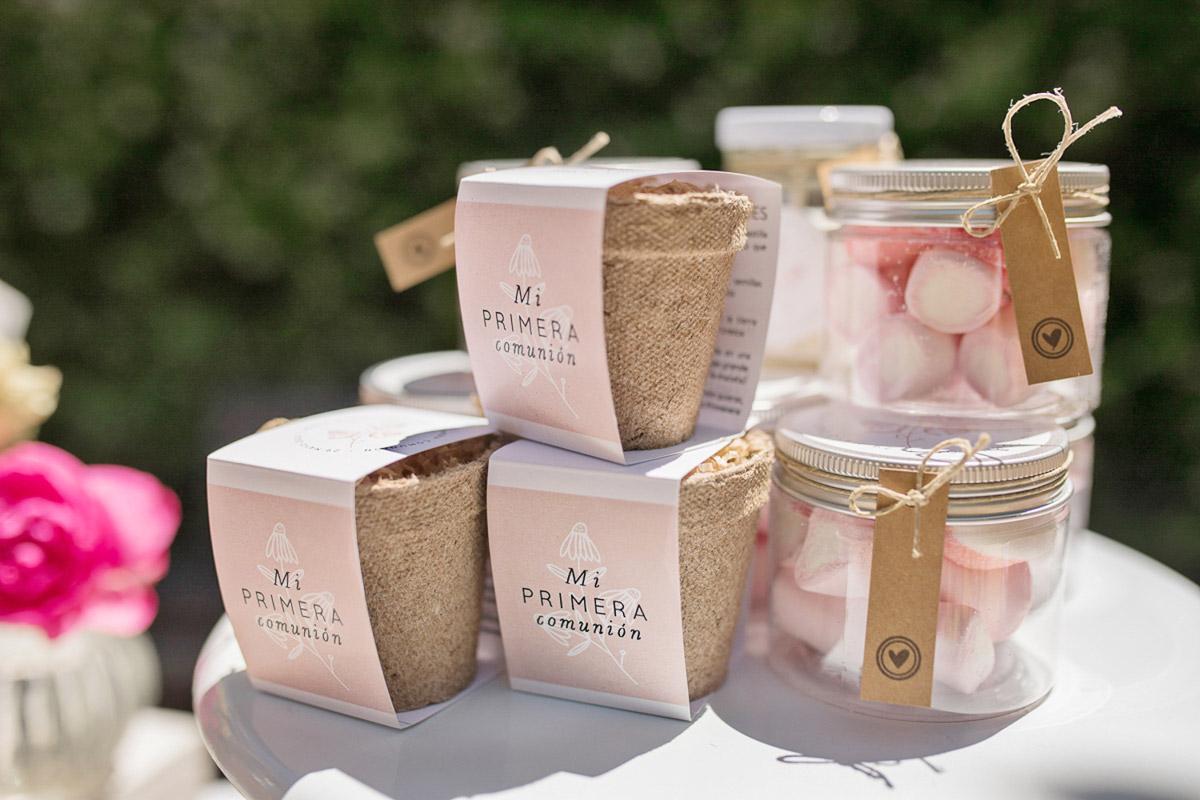 Kits de semillas y tarros de chuches para celebración infantil
